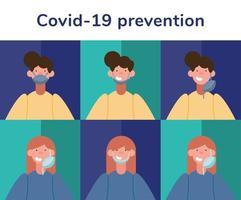 korrekte Verwendung der Gesichtsmaske zur Vorbeugung von Coronaviren vektor