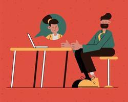 eleganter Geschäftsmann, der mit Frau in der Laptop-Comicfigur plaudert