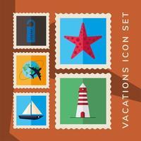 Urlaub Briefmarken Icon Set vektor