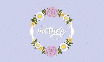 glad mors dagskort med blommig cirkulär ram vektor