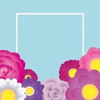 dekorative Blumenkartenschablone mit quadratischem Rahmen