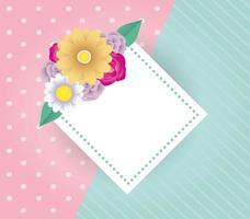 dekorative Blumenkartenschablone mit elegantem Diamantrahmen vektor
