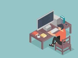 man studerar sitter vid skrivbord koncept vektor