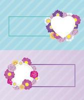 blommig dekorativ kortuppsättning mall med hjärta och cirkel vektor