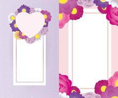 blommig dekorativ kortmall med fyrkantig och hjärtram vektor