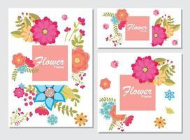 Kartensatz mit Blumenrose, Blätter. Hochzeitsverzierungskonzept. Blumenplakat, einladen. Vektor dekorative Grußkarte oder Einladung Design Hintergrund