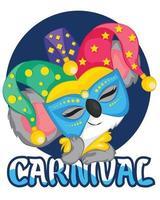 söt koala karneval firande med mask vektor