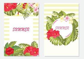 vektor tropiska blad banner på ljus bakgrund. trendiga färger modern botanikdesign för kosmetika, spa, parfym, hälsovårdsprodukter, mode, aromaterapi, turistbyrå, sommarfest