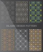 islamische dekorative nahtlose Muster. Sammlung geometrischer Muster im orientalischen Stil. Muster, die dem Farbfeldbedienfeld hinzugefügt wurden. vektor
