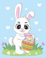 tecknad baby kanin med korg vektor