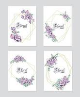 Hochzeitsblumeneinladung, laden Sie ein, speichern Sie die Datumsschablone. Vektor eleganter botanischer Kartenentwurf mit lila Pflanzen, niedlichen grünen Waldfarnblättern der Wachsblume mit goldenem geometrischem Rahmen