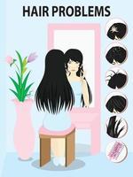 6 häufige Haarprobleme mit. Frau schaut in den Spiegel mit dem Ärger auf ihren Haaren. vektor