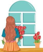 Frau mit Frühlingsblumenstrauß. Muttertag. Frühling