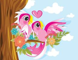 Kakadu-Paar mit offenen Flügeln am Baum vektor