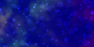 dunkelblaue Vorlage mit Kreisen, Sternen