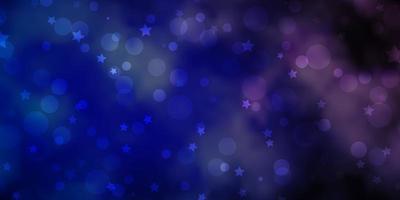 hellrosa, blaues Vektormuster mit Kreisen, Sternen.