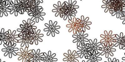 hellorange Vektor Gekritzel Muster mit Blumen.