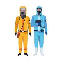 Arbeiter, die biologische Sicherheit tragen, passen zu Charakteren vektor