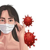 Frau mit Gesichtsmaske, covid19 Schutz vektor