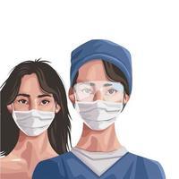 Krankenschwester und Frau mit Gesichtsmaske, Schutz von covid19 vektor