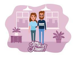 Kampagne zu Hause bleiben mit Paar vektor