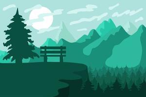berg skog reserv och park med bänk vektor