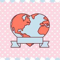Alla hjärtans dagvärld i hjärtform med bandvektordesign vektor