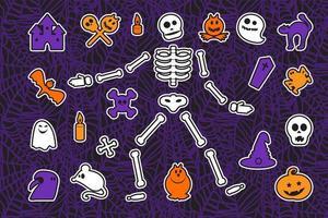 halloween klistermärken set vektor