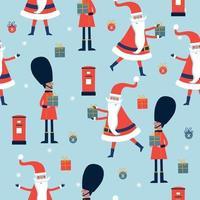 nahtloses Weihnachtsmuster mit englischem Gardisten, Weihnachtsmann, Briefkasten. vektor