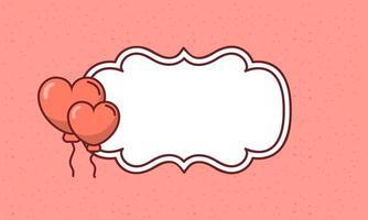 Alla hjärtans dag ram med hjärtan ballonger vektor design