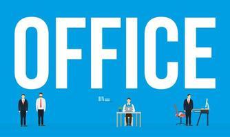 Unternehmensgeschäftsleute und Bürotextvektorentwurf