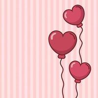 Alla hjärtans dagskortdesign med hjärtaballonger vektor