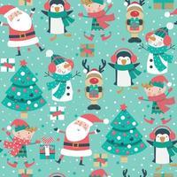 nahtloses Muster der Weihnachtskarikaturfiguren mit Baum, Weihnachtsmann, Elfe und Schneemann auf Winterschneeflockenhintergrund