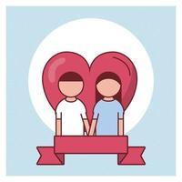 Alla hjärtans dagskortdesign med par framför ett hjärta vektor