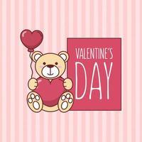 Alla hjärtans dag nallebjörn med hjärta ballong vektor design