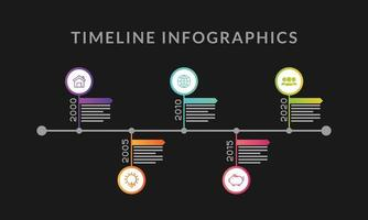 Timeline-Infografik-Vorlage mit Symbolen vektor