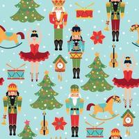 nahtloses Weihnachtsmuster mit Baum, Uhr, Ballerina, Geige, Nussknacker und Trommel. vektor