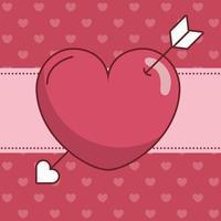 Alla hjärtans dag hjärta med pilen vektor design