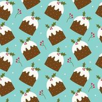 Weihnachten nahtloses Muster mit Pflaumen traditionellem Pudding und Beeren. vektor
