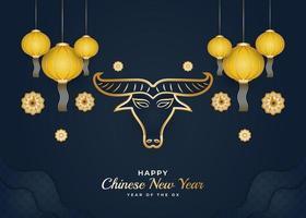 chinesisches Neujahr 2021 Jahr des Ochsen vektor