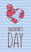 Alla hjärtans dagskortdesign med värld i hjärtform vektor