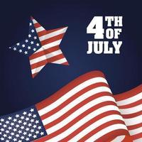 4 juli firande design med stjärna och flagga vektor