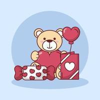 Alla hjärtans dag nallebjörn med hjärta ballong och godis vektor design