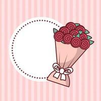 Alla hjärtans dag stämpel med rosor vektor design