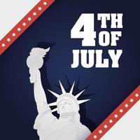 4. Juli Feier Design mit Freiheitsstatue vektor