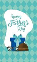 Brille, Geschenk und Hut zum Vatertagsfest vektor
