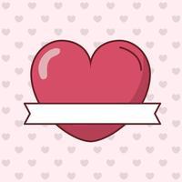 Alla hjärtans dagskortdesign med hjärta och band vektor