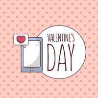 Alla hjärtans dagskortdesign med smartphone och hjärta vektor