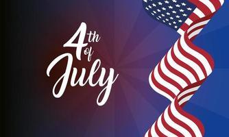 4. Juli Feier Design mit Flagge vektor