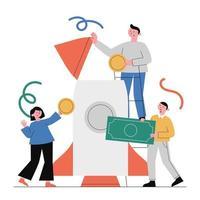 Anschubfinanzierung, Finanzplanung, Investition. vektor